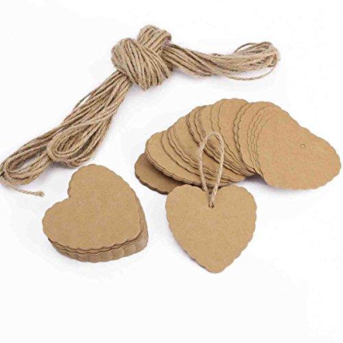 Cascacavelle 100 x ciondoli di carta a forma di cuore catene etichette personalizzate regali feste san valentino + 20m stringa della canapa