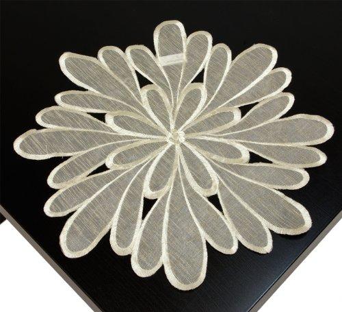 Organza Deckchen ca. 25 cm rund Blatt creme beige 10036-(4) Runde Blätter