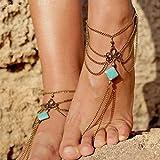 Jovono, cavigliera, calzatura da spiaggia, sandali con turchese alla schiava per donne e ragazze AT03 (1 pezzo)