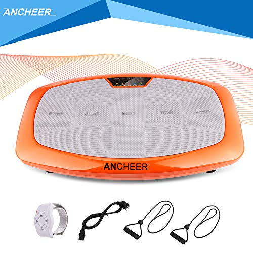ANCHEER Ultraflache Vibrationsplatte for Fett Abbauen und Body Shaping von Hause,Extra Große Anti-Rutsch-Oberfläche,mit Leise Motor inkl.Stromkabel+Trainingsbändern +Armband-Fernbedienung,Orange
