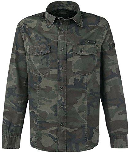 Groß Und Hoch Knopf Manschette Hemd (Brandit Herren SlimFit Shirt Woodland Größe M)