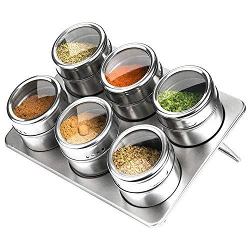 Barattoli per spezie in acciaio INOX, set di 6contenitori magnetici per spezie e condimenti con cavalletto e coperchio trasparente ad avvitamento