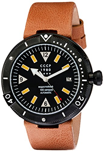 CCCP Men's Kashalot 47mm Leather Band Steel Case Automatic Watch CP-7027-01