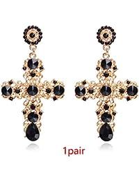 096798291612 Amazon.es  pendientes cruz - Chapado en oro   Mujer  Joyería