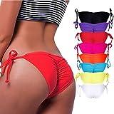 Damen Sexy Bikinihose Cheeky String Side Tie Bikini Comfort Bottom S M L XL Bikini-Unterteil Badeshorts für Frauen, Rote, X-Large