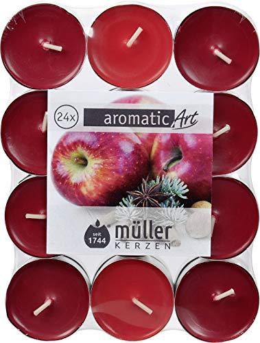 Müller 24 Duftteelichter, Teelichter im Alubecher, Winter-Apfel, 4 Stunden Brenndauer