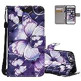 Etui iPhone 5 Violet, Aeeque Motif Papillon Glitter Coque en Cuir PU pour iPhone SE/...
