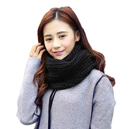 Sannysis bufandas mujer invierno Cuello de punto (Negro)