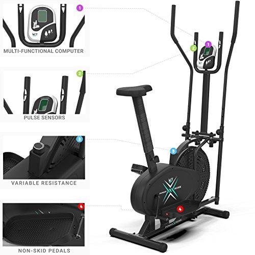 Deluxe 2-in-1 Crosstrainer, Hometrainer für Fitness, Cardio, Workout, mit Sattel - 5