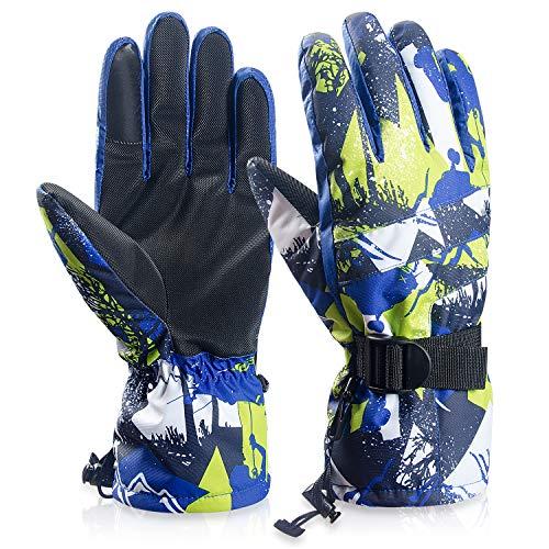 coskefy Ski Handschuhe Winter Wasserdichte Atmungsaktive Schnee Handschuhe für Herren Damen Skifahren Snowboarden (Blau) | 00707953947818