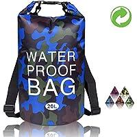 Bolsa impermeable Dodove, bolsa seca de camuflaje, bolsa de compresión de camuflaje 5 l/10 l/20 l para barcos, camping, kayak, playa, rafting, senderismo y pesca, 20L US, Azul