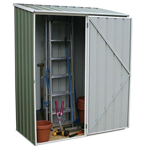 5x3 green emerald metal shed no windows single door pent for Garden shed 5x3