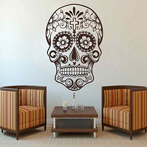 wandaufkleber 3d schlafzimmer Mexican Sugar Skull Wall Decal dia de los muertos Vinyl Sticker Art Decal Wall Tattoo(Dark Brown, 34