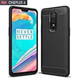 #7: Oneplus 6 Case, AEETZ® Shock-Absorption Carbon Fiber Felxible TPU Rubber Soft Silicon Full Body Protective Cover for One Plus 6 - Texture Black