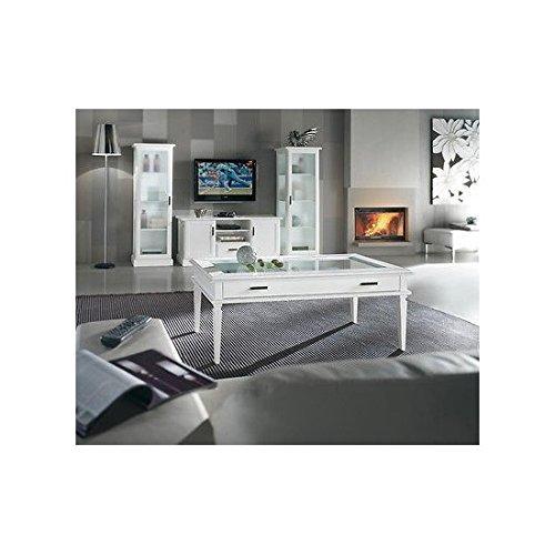 EsteaMobili estea Meubles – Table d'appoint Bois Moderne laqué Blanc Bois Massif x Salle Salon – comme Photos