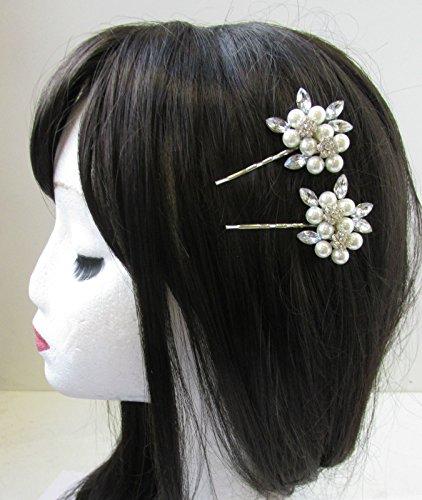 2 x Argent et Blanc Perle Strass Fleur cheveux clips épingles mariée vintage V28 * * * * * * * * exclusivement vendu par – Beauté * * * * * * * *
