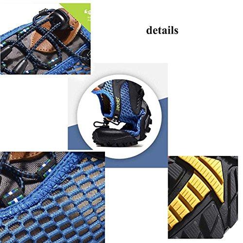 Onfly Pompa Cavo Maglia Filato netto Scarpe sportive Scarpe casual Uomini traspirante Colore puro Tirare laccio Anti scivolo Snekers All'aperto Scarpe da arrampicata Formato Eu 38-45 Blue