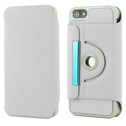 ebestStar - pour Apple iPhone SE 5S 5 - Housse Coque Etui PU cuir Support rotatif 360° + Film protection écran en VERRE Trempé, Couleur Rose [Dimensions PRECISES de votre appareil : 123.8 x 58.6 x 7.6 Blanc