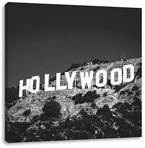 Wahrzeichen von Hollywood schwarz/weiß, Format: 40x40 auf Leinwand, XXL riesige Bilder fertig gerahmt mit Keilrahmen, Kunstdruck auf Wandbild mit Rahmen, günstiger als Gemälde oder Ölbild, kein Poster oder Plakat (Und California Schwarz Weiß-plakat)