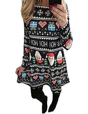 Ruiyige Frauen Mädchen Weihnachten Kleid Santa Weihnachten Geschenk Herz Print Swing Kleid