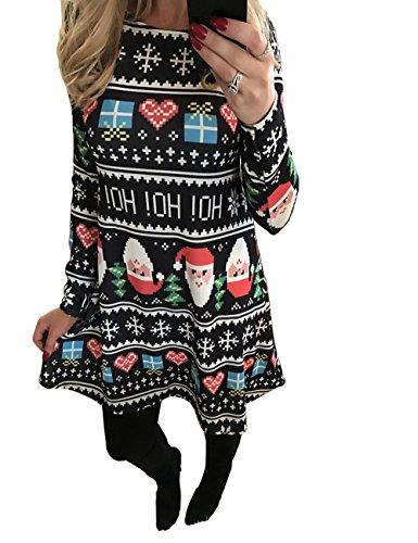 Frauen-langes Hülsen-Weihnachtsgeschenk-Schnee-Druck-Weihnachtsschwingen-Minikleid-Schwarzes S