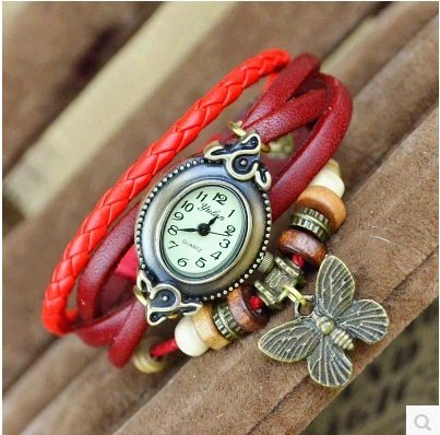 a-goo Vintage Armbanduhr Hand Woven Schmetterling Armband Armbanduhr