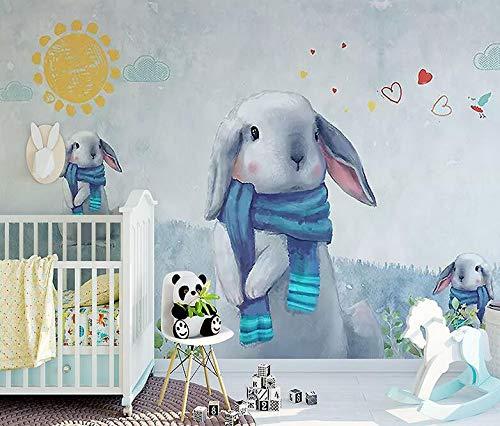 3D Kinderzimmer Cartoon Tapete Mädchen Schlafzimmer Schöne Kaninchen Hintergrund Wand Große Fresko, 350 × 245 cm
