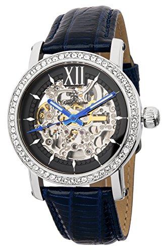 Burgmeister Armbanduhr für Damen mit Analog Anzeige, Automatik-Uhr und Lederarmband - Wasserdichte Damenuhr mit zeitlosem, schickem Design - klassische, elegante Uhr für Frauen -BM158-103 Malaga