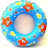 Fish Print Inflatable Swim Ring - Blow Up Floating Tube Raft Tube For Swimming Pool Beach For Age 3-10 Years - 50cm(printed May Change)