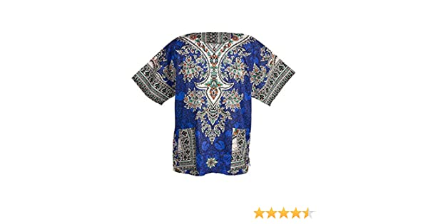 Lofbaz Dashiki Unisexe Haut avec impression africain traditionnel Bleu fonc/é Taglia M