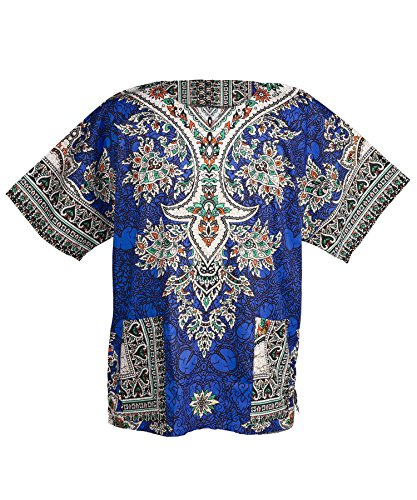 Lofbaz Unisex Dashiki Bohemian Africana Camicia Hippy Ethnic Blu scuro Taglia XL
