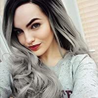 Lace Front Grey Wigs GLAMADOR Long Wave Curly Wig,Ombre Dark Roots Natural Hairline Synthetic Gray Wig, Heat Resistant Cosplay Halloween Party Dress Fancy Wigs for Women with Wig Cap 22