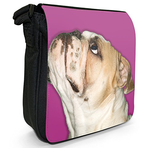 Close Up Of Bulldog Looking Up-Borsa da spalla in tela, piccola, colore: nero, taglia: S Pink Bulldog Looking Up