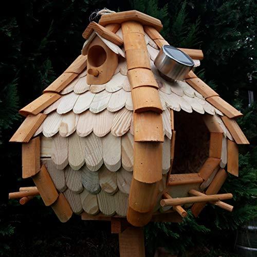 Großes Luxus Solar Licht Vogelhaus Holz Bunt Vogelfutterhaus Vogelhäuschen K32S LED (Braun / Weiß) - 2