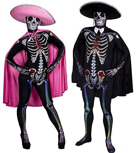 TAG DER TOTEN HALLOWEEN VERKLEIDUNG = PAARE SUGAR SKULL-SKIN SUIT MIT SOMBRERO UND UMHANG = DAS PERFEKTE KOSTÜM FÜR SIE UND IHN AN HALLOWEEN -FASCHING ODER KARNEVAL PARTY = 2 (7 Kostüme Gruppe Halloween)