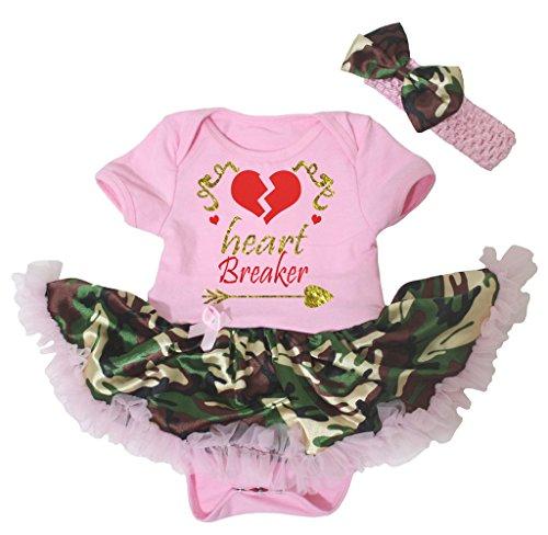 Petitebelle Heart Breaker Pink Bodysuit Camouflage Tutu Set Nb-18m (3-6 (Kostüm Girl Pfeil Grüner)