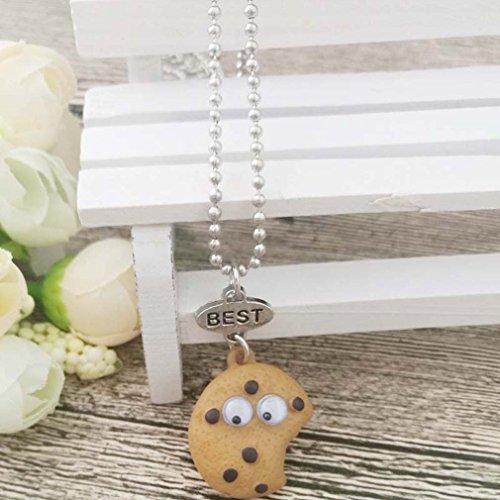 MJartoria Damen Mädchen Halskette Silber Farbe Essen Schmuck Anhänger mit Gravur Freundschaftsketten 2 Stück