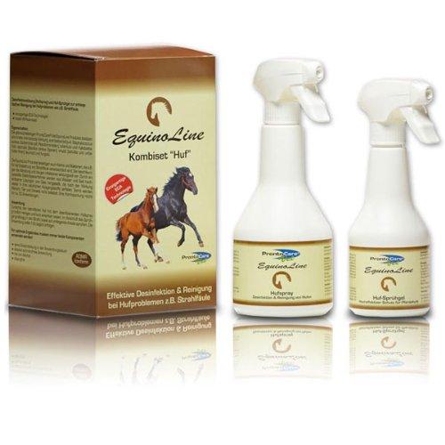 Equinoline Kombiset Huf - Antibakterielles Spezialset zur Anwendung bei Strahlfäule (350ml & 500ml) - Einfache Anwendung - Absolut ungiftig -