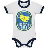up to Date Baby - Banana Nana Vintage - 12-18 Monate - Weiß/Navy Blau - BZ19 - Zweifarbiger Baby Strampler für Jungen und Mädchen