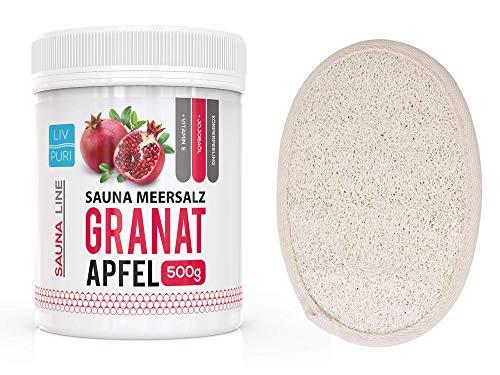 Saunasalz Granatapfel mit Luffa-Pad ideale als Geschenkeset | Körperpeeling Natur Luffa Schwamm für Bad und Dusche