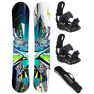 Airtracks Snowboard Set – Places Snowboard Zero Rocker + Snowboardbindung Star oder Master FASTEC + Snowboard Bag / 156 159 165 cm