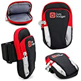 DURAGADGET Black & Red Polyester Sports Armband - With