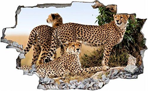 DesFoli Gepard Leopard 3D Look Wandtattoo 70 x 115 cm Wanddurchbruch Wandbild Sticker Aufkleber C111 (Gepard-druck-wand-bilder)