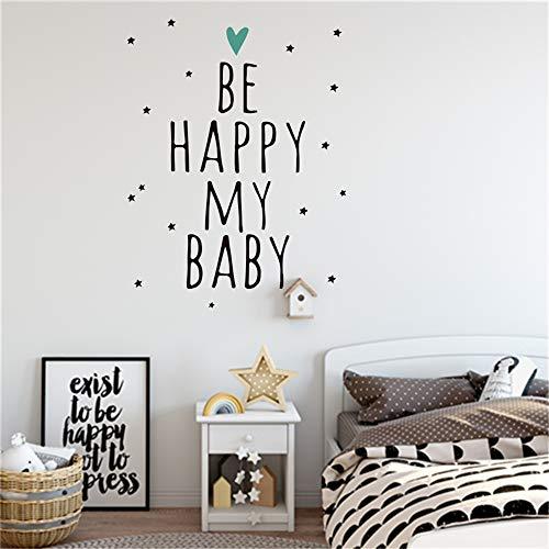 yiyiyaya SEIEN SIE GLÜCKLICH Mein Baby Vinyl Art Home Decor Qualitäts-Wandaufkleber für Kinderzimmer Living Decals Poster schwarz 58 x 30 cm
