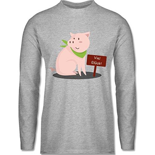 Shirtracer Sonstige Tiere - Glücksschweinchen - Herren Langarmshirt Grau Meliert