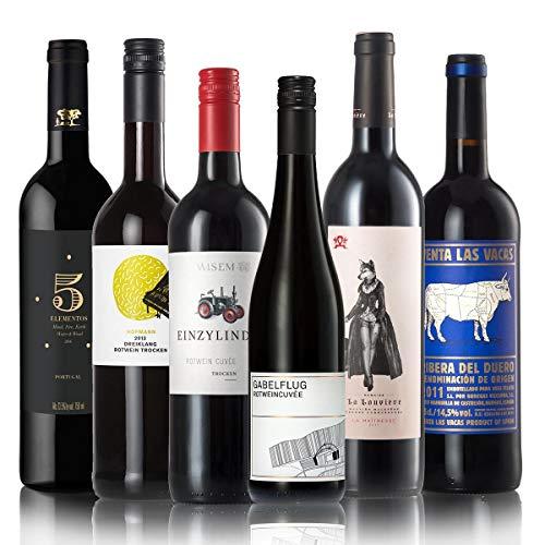 GEILE WEINE Weinpaket Rotwein trocken (6 x 0,75) Probierpaket mit Rotweinen von Winzern aus...