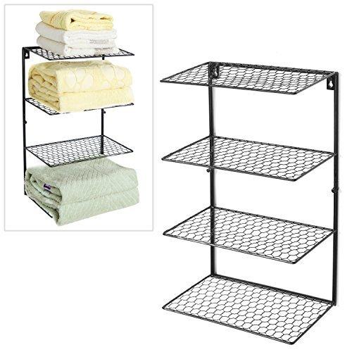 4 Tier-mesh (Black Metal Chicken Wire Mesh 4 Tier Towel Storage Rack / Wall Mounted Bathroom Organizer Shelf - MyGift by MyGift)