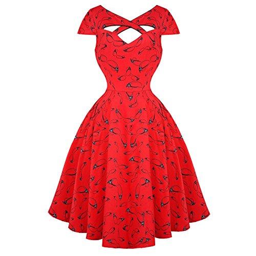 Voodoo Vixen rosso Rockabilly occhiali Vintage party dell'abito 50ger Anni a forma di