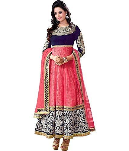 Clickedia Womens Brocade & Georgette Anarkali Dress Material (Pink and Blue _Free Size)