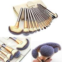 Anne 18pcs juego de cepillo de maquillaje profesional mango de madera Premium Synthetic Kabuki, colorete, corrector, ojo cara líquido polvo crema cosméticos Lip Brush Tool pinceles Kit (funda) color crema